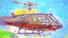 Desenho militar do sumário da ilustração do projeto da arte do helicóptero Imagem de Stock