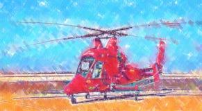 Desenho militar do sumário da ilustração do projeto da arte do helicóptero fotos de stock