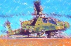 Desenho militar do sumário da ilustração do projeto da arte do helicóptero fotografia de stock