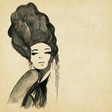 Desenho moderno bonito da mulher ilustração royalty free