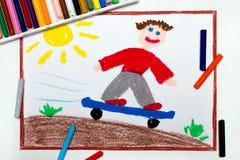 Desenho: O menino monta o parque do patim do anúncio do skate foto de stock