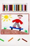 Desenho: O menino monta o parque do patim do anúncio do skate fotografia de stock royalty free