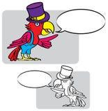 Desenho-papagaio-chapéu ilustração royalty free