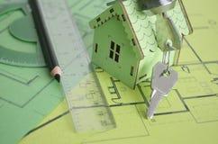 Desenho Plano da construção de casa Imagem de Stock Royalty Free