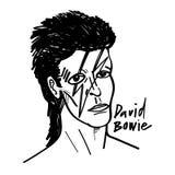 Desenho preto e branco da ilustração dos desenhos animados do vetor do bowie de David ilustração stock