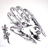 Desenho preto e branco da mão com testes padrões e ornamento Foto de Stock Royalty Free