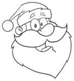 Desenho preto e branco da mão do caráter de Santa Claus Face Classic Cartoon Mascot ilustração royalty free