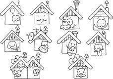 Desenho preto e branco das casas felizes Fotos de Stock Royalty Free