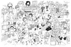 Desenho preto e branco de desenhos animados ocupados do mercado ilustração royalty free