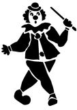 Desenho preto e branco de um palhaço Fotografia de Stock Royalty Free