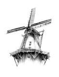 Desenho retro velho do vintage do moinho de vento Foto de Stock Royalty Free