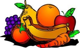 Desenho saudável do curso da escova da pilha dos frutos ilustração stock