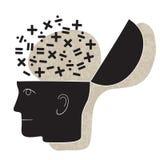 Desenho simbólico de uma cabeça e de um pensamento matemático ilustração do vetor