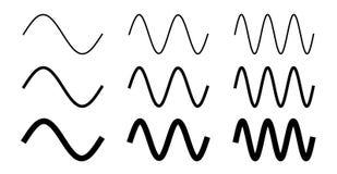 Desenho simples da onda de seno Período um, dois e três com 3 larguras diferentes Imagens de Stock Royalty Free