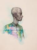 Desenho surreal da mão, retrato de uma arte finala decorativa do homem ilustração stock