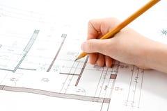 Desenho técnico da mão do projeto Fotografia de Stock Royalty Free