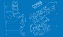 Desenho técnico da maquinaria complicada Fotografia de Stock Royalty Free