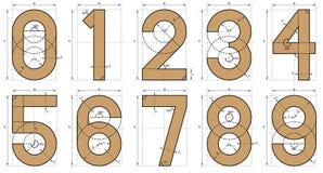 Desenho técnico da pia batismal dos números ilustração stock