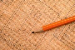 Desenho técnico velho no papel de gráfico com lápis Imagem de Stock Royalty Free