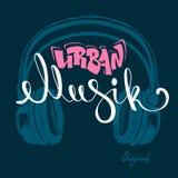 Desenho urbano da mão do musik do fones de ouvido, ilustração do vetor do grunge Imagens de Stock
