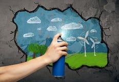 Desenho urbano do pintor Imagem de Stock