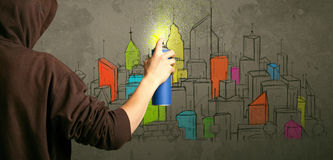 Desenho urbano novo do pintor Imagens de Stock Royalty Free