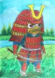 Desenho vermelho do samurai ilustração royalty free