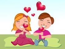 Desenhos animados abstratos do amor Imagens de Stock Royalty Free