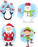 Desenhos animados ajustados caráteres do vetor do Natal Imagens de Stock Royalty Free