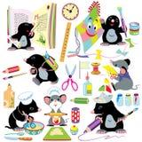 Desenhos animados ajustados com atividades criativas Imagem de Stock Royalty Free