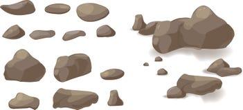 Desenhos animados ajustados da pedra da rocha Pedras e rochas no estilo isométrico dos desenhos animados Grupo de pedregulhos dif Imagens de Stock
