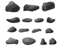 Desenhos animados ajustados da pedra da rocha Pedras e rochas no estilo isométrico dos desenhos animados Grupo de pedregulhos dif Fotos de Stock Royalty Free