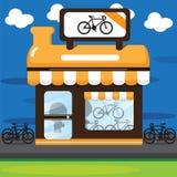 Desenhos animados alaranjados da loja da bicicleta Fotos de Stock Royalty Free