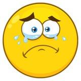 Desenhos animados amarelos de grito Smiley Face Character With Tears Fotografia de Stock