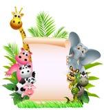 Desenhos animados animais com sinal em branco Fotografia de Stock Royalty Free