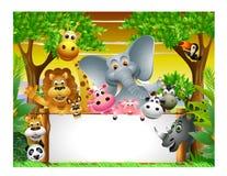 Desenhos animados animais com sinal em branco Imagens de Stock Royalty Free