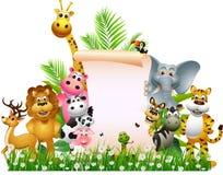 Desenhos animados animais com sinal em branco Imagens de Stock