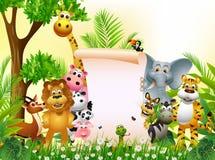 Desenhos animados animais com sinal em branco Imagem de Stock