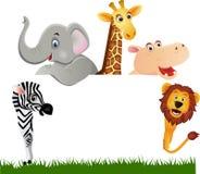 Desenhos animados animais e espaço branco Foto de Stock Royalty Free