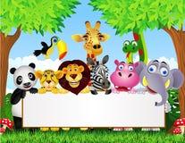 Desenhos animados animais e sinal em branco Fotos de Stock