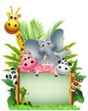 Desenhos animados animais engraçados dos animais selvagens com placa em branco Imagens de Stock Royalty Free