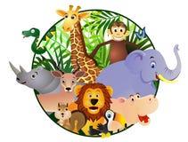 Desenhos animados animais no círculo Fotografia de Stock Royalty Free