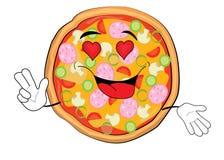 Desenhos animados apaixonado da pizza Foto de Stock