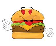 Desenhos animados apaixonado do hamburguer Imagens de Stock