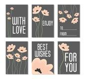 Desenhos animados Aperfeiçoe para cartões de aniversário, cartazes, bandeiras, etiquetas, etiquetas com as flores no fundo escuro Fotografia de Stock