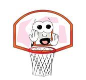 Desenhos animados assustado da aro de basquetebol Fotografia de Stock