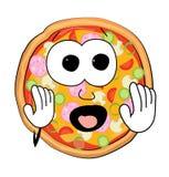 Desenhos animados assustado da pizza Fotografia de Stock Royalty Free