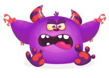 Desenhos animados azuis bonitos do monstro com expressão engraçada Ilustração do vetor de Dia das Bruxas do monstro peludo gordo  ilustração stock