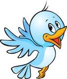 Desenhos animados azuis bonitos do vôo do pássaro Fotos de Stock Royalty Free