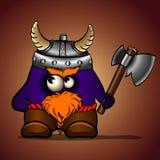Desenhos animados azuis viquingue com um machado Imagens de Stock Royalty Free
